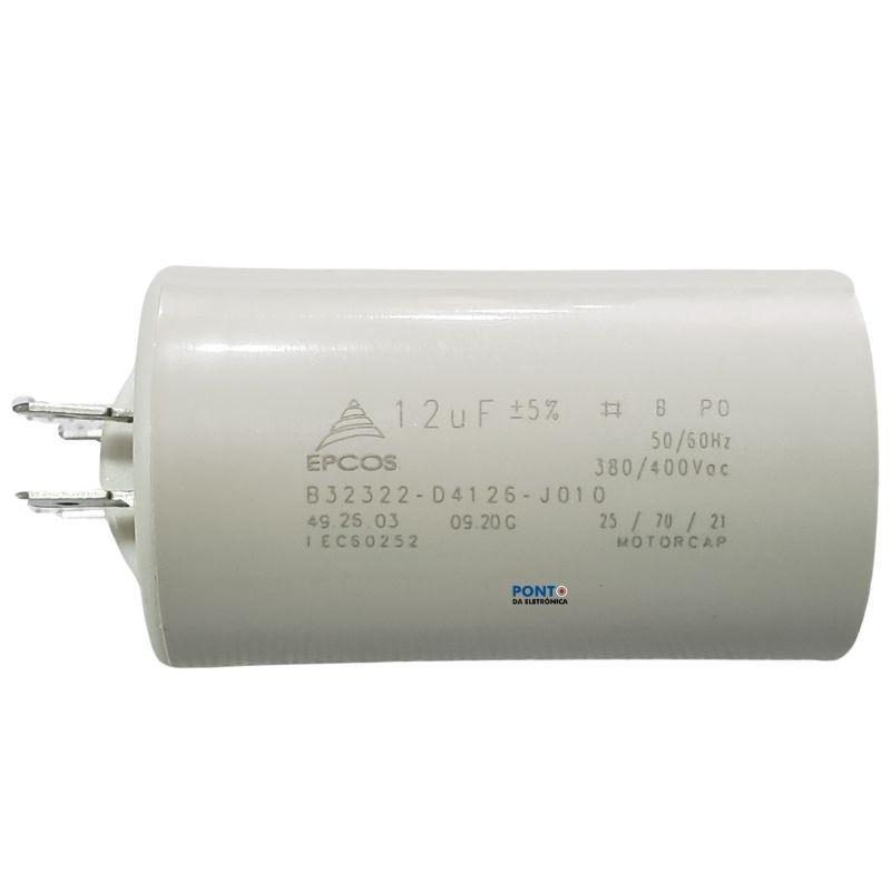 Capacitor Polipropileno 12uF x 380V / 400Vac 50/60Hz Plástico Faston Epcos