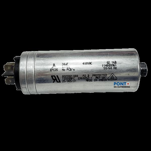 Capacitor Polipropileno 30uF x 400Vac 50/60Hz Aluminio Com Parafuso de Fixação Epcos