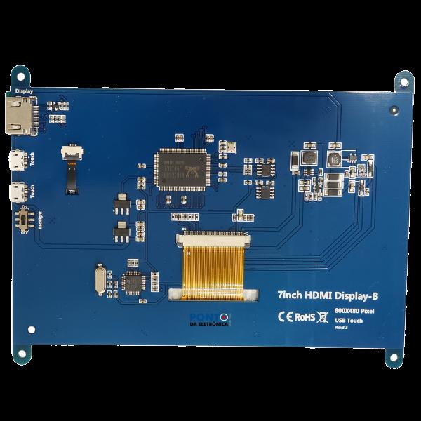 "Display LCD 7"" HDMI 800X480 USB Touch Para Raspberry"