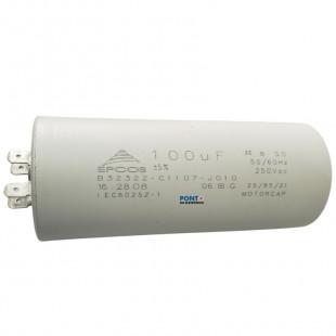 Capacitor Polipropileno 100uF x 250Vac 50/60Hz Plástico Faston Epcos
