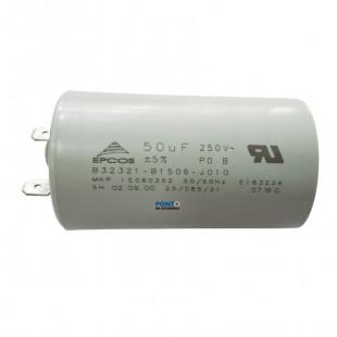 Capacitor Polipropileno 50uF x 250Vac 50/60Hz Plástico Faston Epcos
