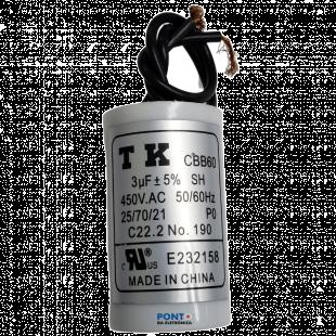 Capacitor Polipropileno 3uF x 450Vac 50/60Hz Plástico Fio TK CBB60