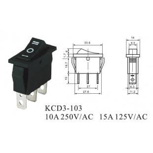 Chave Gangorra KCD3-103 3 Terminais 15A/30A 250V Preta Kit 5pçs