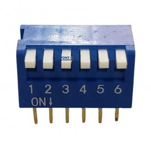 Chave Dip Switch KF-1002 6 Vias 90º Azul