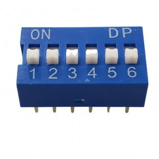 Chave Dip Switch KF1001 6 Contatos Azul 180º Kit 3pçs