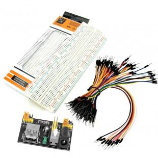 Kit MB-102 Protoboard 830 Furos + Fonte + Kit Jumper