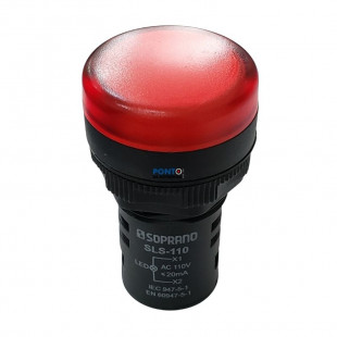 SLS-110 Sinalizador 22mm Vermelho 110V Código 05141.0104.03 Soprano
